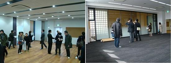 3階 中央ホール/動線の中心となり、集会機能も果たす。 集会室/エントランス上部の吹抜けがガラス越しに見える