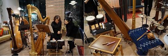 稲野珠緒さんのサポートでたくさんの打楽器が並びました。木魚もあります!
