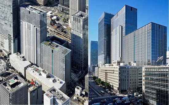 ※写真 2008年竣工写真:北東外観/丸の内トラストシティの「足もと」に9階建ての第一・第二鉄構ビルが