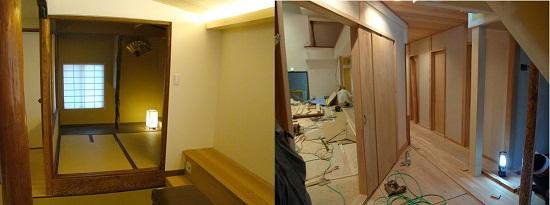 左:2階席奥の茶室  右:トイレ周りの工事(2012年10月)
