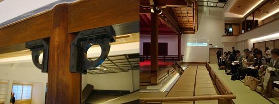 左:耐震リングで木造の軸組みを強化 右:プレス発表の際壁にプロジェクター投影(2012年11月)