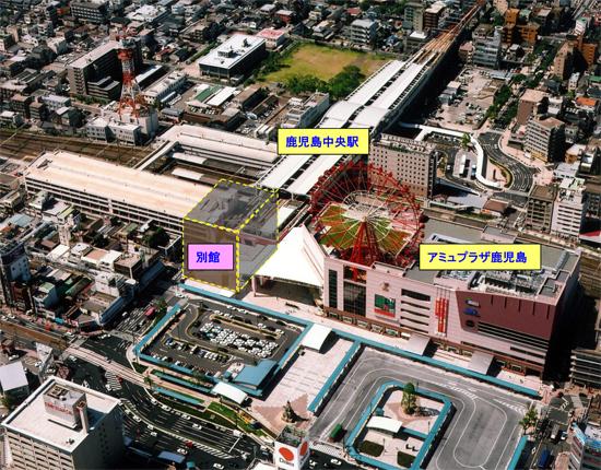 2004年開業当時の航空写真(撮影=アイオイプロフォート)から。(※別館の建設場所をコラージュしています。正確なボリュームとは若干異なります
