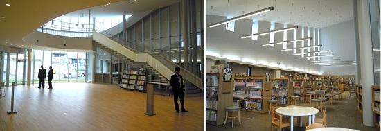 1階内部/吹抜けで開放感あるお茶の間ホール(左)に隣接した図書室(右)