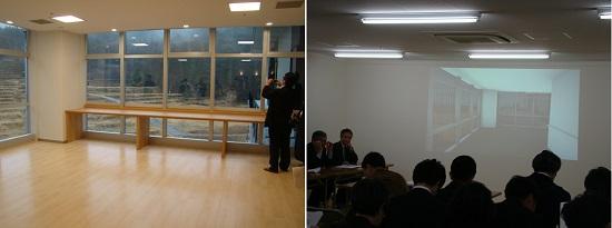左:5階デイルームから「棚田」の広がりが目に映る。右:質疑応答での補足/ウォークスルー動画