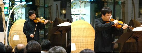 弦を弓で振動させる通常の弾き方、曲によっては指ではじくことも。