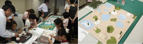 左:お父さんに手伝ってもらいながら模型作りを体験/右:子どもたち全員で作った模型作品
