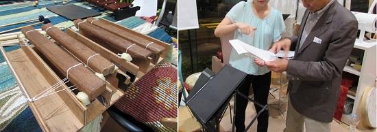 左:手作りカスタマイズ木琴/右:休憩中に楽譜を拝見、お客さんから質問も。