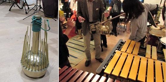 とても珍しい楽器「ウォーターフォン」。壷状の中に水が少量入って、振るとチャポンと音がする。周囲の棒を弓で擦って音を出すなど、さまざまな効果音が。