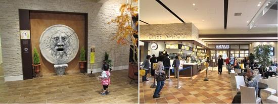 左:1F-真実の口/右:1F-ケーキ&カフェ「CAFE NAPOLI」