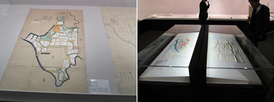 左:「二ノ丸之絵図」/右:さまざまな絵図は、建築的見取り図としても興味深い
