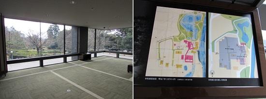 右:この地にあった砂取御邸絵図と現在の図書館を重ねた解説図
