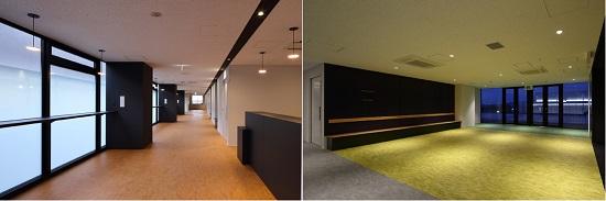 左/共用部廊下:開口部にもカウンターを設け、気軽なコミュニケーションの場となる  右/4階:コミュニティラウンジ