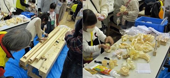 """協会会員、大阪工業技術専門学校の学生らがサポートし、けがしないよう安全にも配慮。削ったスライスを袋に入れ持ち帰り、""""ヒノキ風呂""""で作業の疲れも癒える?"""