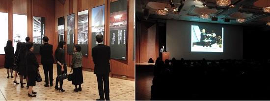 左:作品シートが展示された会場のブルーローズ/右:福本総支配人による「最近のサントリーホール」の紹介